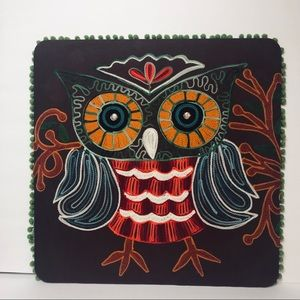 Pier 1 Embroidered Owl Wall Picture Hanging
